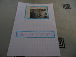 AUTOGRAPHE DÉDICACÉ DE DANIELLE DARRIEUX SUR COUPURE DE PRESSE COLLÉE SUR CARTON BRISTOL (15 X 21 Cm) -Voir Description - Autographs