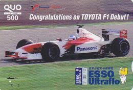 Carte Prépayée Japon - VOITURE DE COURSE F1 - TOYOTA / ESSO ULTRAFLO - RACING CAR Japan Prepaid QUO Card - 2946 - Automobili