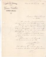 51 Congy - Lettre De 1921 Du Café Du Centre,Gaston Caillet. Tb état Complet - France