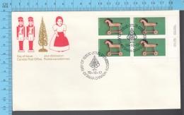 Canada - 1979 Block  R Scott #840, Christmans Antiques Toys, Wooden Horse  - FDC PPJ , Fancy Cancelation - Non Classés