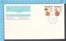 Canada - 1979 Pair Scott #715-716, Postal Code ,Female Hand Red/ribbon & Male Hand.. - FDC PPJ , Fancy Cancelation - Poste