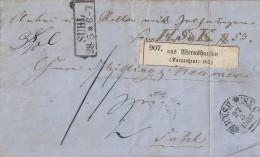 Thurn & Taxis Paketbegleitbrief K1 Wernshausen 27.5.1865 Gel. Nach R2 Suhl 28.5. - Thurn Und Taxis