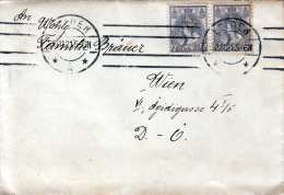 NIEDERLANDE 1921 - 2 Fach Frankierter Brief (Brief Mit Inhalt) Gel.v.Leiden Nach Wien VI - 1891-1948 (Wilhelmine)