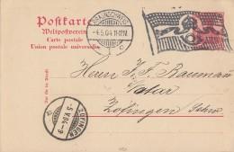 DR Ganzsache Flaggenstempel Braunschweig 4.5.04 Gel. In Schweiz - Deutschland