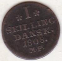 DENMARK, 1 SKILLING DANSK 1808 M.F., FREDERIK VI, KM# 662. - Dänemark