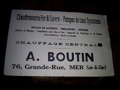 Buvard Publicitaire Chauffage Central Boutin A Mer Loir Et Cher - Blotters