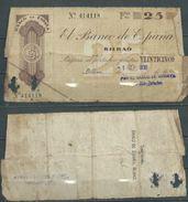 ESPAGNE SPANIEN SPAIN ESPAÑA 1936 25 PTAS BANCO ESPAÑA-BILBAO (EUZKADI) - [ 2] 1931-1936 : Republiek