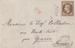 Frankreich Brief EF Minr.29 Gelaufen In Die Schweiz Ansehen !!!!!!!!!!! - 1863-1870 Napoléon III. Laure