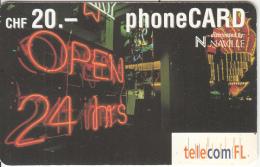 LIECHTENSTEIN - Open 24 Hrs, Telecom FL Prepaid Card CHF 20, Exp.date 02/04, Used - Liechtenstein