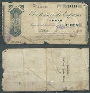 ESPAGNE SPANIEN SPAIN ESPAÑA 1936 100 PTAS BANCO ESPAÑA-BILBAO (EUZKADI) - [ 2] 1931-1936 : Repubblica