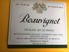 2470 - Beauvignot Vin Blanc Sec De France Etiquette Pour Export USA - Blancs