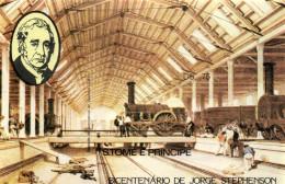 Sao Tome & Principe 1982 Mi. Block 113B Imperforated MNH, Jorge Stephenson, Swindon Train Depot - Trains