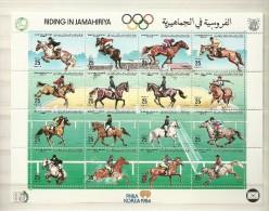 1984-Libya-Libye- Riding Horses-Equitation Chevaux-complete Set MNH** - Libia