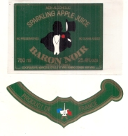 étiquette - Années 1960/2000 ... Baron Noir Jus De Pomme Pétillan Pour Export - Fruits Et Légumes