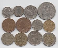 Colombie : Lot De 12 Pièces Différentes 1956-2011 Dont 1 BIMETAL - Colombia