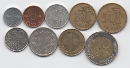 Finlande : Lot De 9 Pièces 1963-1994 Dont 1 BIMETAL - Finland
