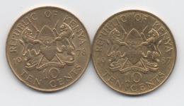 Kenya : Paire De 10 Cents : Président Mzee Jomo Kenyatta 1978 & Président Daniel Toroitich Arap Moi 1987 - Kenya