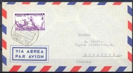 1950 , GUINEA ESPAÑOLA , ED. 275 , CORREO AÉREO CERTIFICADO , CIRCULADO ENTRE SANTA ISABEL Y BOULOGNE , LLEGADA AL DORSO - Guinea Española