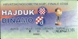 Sport Match Ticket UL000400 - Football (Soccer / Calcio) - Dinamo Zagreb Vs Hajduk Split: 2008-05-07 - Match Tickets
