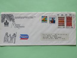 USA 1986 Christmas Cover Chicago To England - Polish Logo - Native Textiles Navajo Art - Christmas Greetings - Lettres & Documents