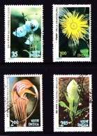 India 1982 Himalayan Flowers Set Of 4 Used - See Notes - India