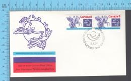 Canada - 1974   Pair Scott #648, Universal Postal Union Centenary, Mercury & Winged Horses - Fancy Cancelation - Poste