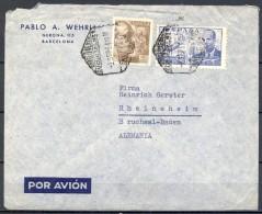 1954 , BARCELONA - BADEN , MAT. CORREO AÉREO , SUCURSAL Nº 1 - 1951-60 Cartas