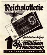 Original-Werbung / Anzeige 1938 - REICHSLOTTERIE FÜR ARBEITSBESCHAFFUNG - Ca . 60 X 50 Mm - Publicités