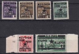 Italy Occupation In WWII Yugoslavia Fiume Rijeka 1945 Sassone#15-20 Mi#28-33 Mint Never Hinged Short Set