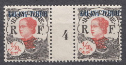 Kouang-Tcheou 1923 Yvert#52 Mint Hinged Gutter Pair, Millesime 4 - Unused Stamps
