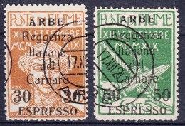 Fiume 1920 Carnaro Islands - Arbe (Rab) Espressi Espresso Eilmarken Sassone#1-2 Mi#26-27 Used - 8. WW I Occupation