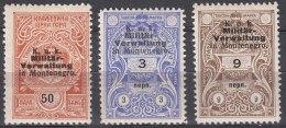 Austria Feldpost, Occupation Of Montenegro Mint Never Hinged Three Revenues