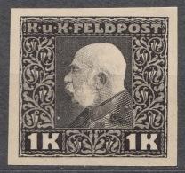 Austria Feldpost 1915 1 K Imperforated Proof