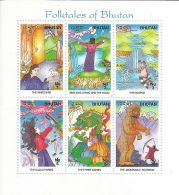 Bhutan Stamp MNH,Folktales Of Bhutan,Miniature Sheet,Magic,Archery,Bird,Dragon,Devil,Rainbow,Waterfall - Bhutan