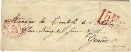 1853- Lettre De ST GALLIEN En Port Du - Timbre Taxe  15  R P  Rouge Pour Genève - Poststempel