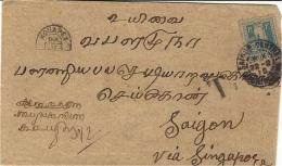 1915- Enveloppe De KONAPET ( INDE- CHETTINADU ) En Port Du  Pour Saïgon TAXEE 50 C N°13 SEUL - Indochina (1889-1945)