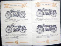 MOTOS  TERROT PLAQUETTE PRESENTANT 6 MODELES DE MOTOCYCLETTES ET LEURS ACCESSOIRES  AVEC LEUR PRIX DE VENTE - Motos