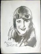 AVIATION SPORTIVE PORTRAIT DE LOUISE BASTIE HEROINE RECORDWOMAN  ET HEROINE DE L'AVIATION DES ANNEES 1930/1940 - Aviation Commerciale