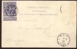 Carte Précurseur Du 7/2/1897 D'Anvers à Quint Près De Trèves Trier (Allemagne) + Timbre COB 71 Avec Vignette - Autres