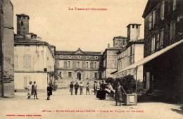 St Saint Nicolas De La Grave Place Et Facade Du Chateau Aminci - Saint Nicolas De La Grave