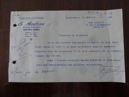 Sidi Bel Abbes  Algerie Mr E Anfossi Tailleur 1959 - Factures & Documents Commerciaux