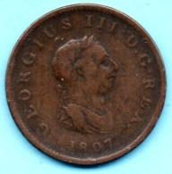 R18/ GREAT BRITAIN / GRANDE BRETAGNE  1/2 PENNY 1807  Georges III  Km#662 - 1662-1816 : Anciennes Frappes Fin XVII° - Début XIX° S.