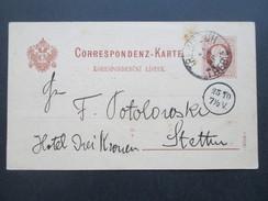 Österreich 1880 Ganzsache Böhm Trebitsch / Trebic - Stettin In Das Hotel Drei Kronen! - 1850-1918 Imperium