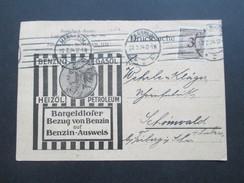 DR 1924 Korbdecke Nr. 338 EF Drucksache Benzin / Gasol / Heizöl / Petroleum Benzin Ausweis! - Briefe U. Dokumente