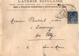 TB 2131 - LSC - Lettre De L'Avenir Populaire ( Assurances ) à PARIS Bd Poissonnière & Rue Du Sentier - Marcophilie (Lettres)