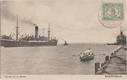 CPA INDONESIE INDONESIA JAVA SOERABAIA Port Bateaux à Vapeur Timbre Stamp - Indonésie