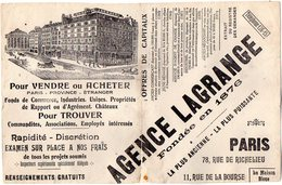 VP6271 - Buvard - Agence LAGRANGE à PARIS Rue De Richelieu & De La Bourse - A