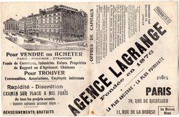 VP6271 - Buvard - Agence LAGRANGE à PARIS Rue De Richelieu & De La Bourse - Löschblätter, Heftumschläge