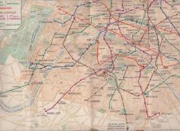 PLAN DU METRO DE PARIS En 1936 Avec Pub - Cartes