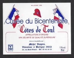 Etiquette De Vin  -  Côtes De Toul  1988  -   Cuvée Du Bicentenaire De La Révolution  -  M. Vosgien à  Bulligny  (54) - Bicentenary Of The French Revolution